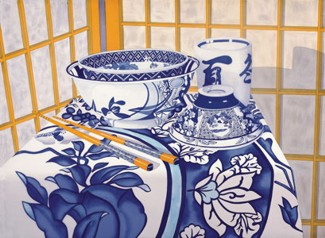 Chopsticks with Blue and White Vessels